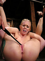 Areola Showing, Sexy blond gets tied up hard, abused, DP'd and forced to CUM.