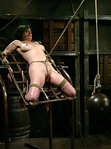 Fetish Pics: Stacey discovers a harsh crotch rope for the first time.