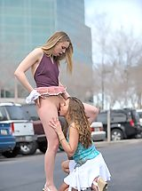 Naked Outdoors, Anna and Amber make out in public