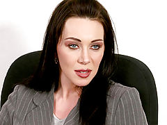 Dark haired blue eyed milf siren rayveness flirts with the office help