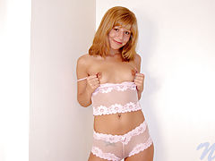 Breastfeeding Nipple, Chastity bends over on her bed and stuffs her teen pussy with a toy
