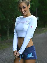 Perky Nipples, Melanie getting warmed up for a jog in tight gym kit.