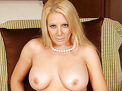 Milf Vids: Vivacious milf Kara Nox twists and turns a glass dildo in her moistened pussy