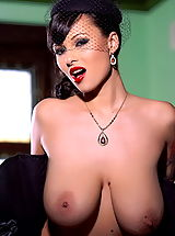 Huge Areola, Domino in Natural Huge Melons in Corset Vintage Look