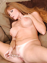 [Spintax1], Seductive brunette Darla Crane plunges a glass dildo deep inside of her cougar fuck hole