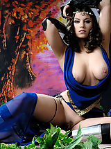 Pillow Biter, Busty brunette warrior babe taking off her blue dress
