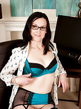 Milf Pics: Emily Marshall marked in Small Boobs,Hairy Pussy,Black Hair,Long hair,Bras,Lingerie,Masturbation,Fair Skin,High Heels,Glasses,Big Areolas,Natural,Milf,Stockings