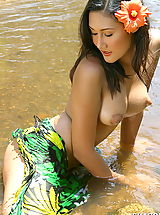 naked babe, Asian Women sharon 03 puffy nipples river water