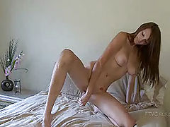 naked grils, Holly plays at home in her bed
