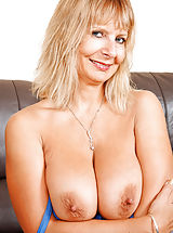 Hard Nipples, Horny Anilos Alex pinches her big boobs and spreading her pink pussy on the couch