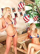 Monokini, One lucky guy fucks two sexy blondes and cums on both of them