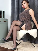 Oriental boss lady Tigerr offers her nyloned charms to swing the deal