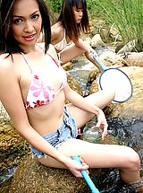 Asian Women girl girl rebecca ariel 07 river bikini
