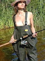 Armour Angels Nippels, An original photo-set with a slim beautiful girl fishing and taking off her overalls feeling hot and horny