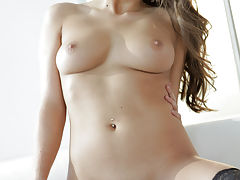 Busty brunette Teal Conrad cant keep her warm eager lips or her creamy tight pussy off her mans long pulsing erection