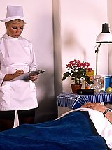 Vintage, Classic blond nurse seduces horny old patient