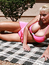 Sexy Bikini, Anilos blonde Cala Craves loves to caress her cock craving hairy pussy while she sunbathes outdoors