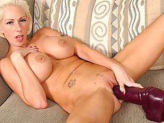 Oversized Nipples, Kasey inserting a very big brutal dildo!