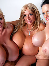 Echo Valley, Kayla Kleevage and Sofia Staks smother Charles with their colossal boobies!