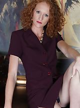 naked blondes, Small bosomed curly redhead Ande exposes her older slit.