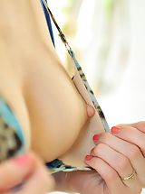 Erect Nipples, Sophie milks her sweet nipples
