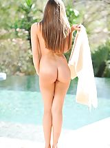 naked girl, Capri gets naked by the pool