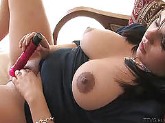 Large Nipples, Julie fucks her new dildo