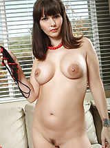 Erected Nipples, Matured sexpot Carrie shows off her terrific slit piercing.