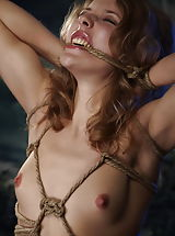 Curly petite blonde girl tied tight with ropes