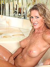 Huge Nipples, Seductive Anilos Jade gets wet in the tub and fondles her pink juice box