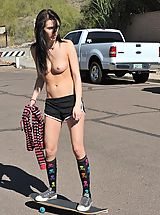 Sapphic Erotica Nippels, Aiden gets emo and tires to skateboard topless