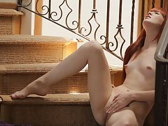 naked lesbian, Redhead Elle Alexandra is so hot and horny that she has to stop everything and pleasure her needy pussy on the stairs
