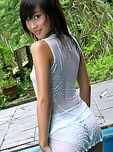 naked sluts, Asian Women lolita cheng 10 water pool wet shirt small tits