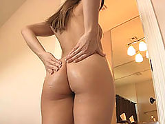 best ass, Dani gives herself a hard breast and ass massage
