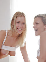 naked chick, Have you ever imagined being blindfolded and taken advantage of by two gorgeous blondes? You'll now!