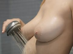 Bumps on Areola, Big breasted blonde Natalia Star gets wet and wild aiming the shower spray at her horny bald pussy to pleasure her twat